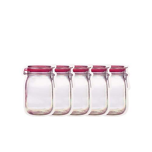 Jar Flaschen Zipper-Beutel 100/60 / 20pcs Küche Fresh Food-Speicher-Beutel Kühlschrank Wiederverwendbare Weckglas Zipper-Taschen Set for die Reise Camping Picknick Home Organisation ( Color : 5PCS M )