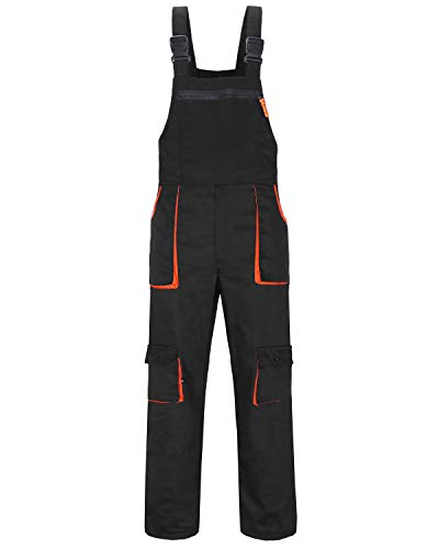 Jkroling Herren Arbeitshose Berufsbekleidung Sicherheitshose Lätzchen und Zahnspange Hose Arbeitsschutzbekleidung (Large, Schwarz)