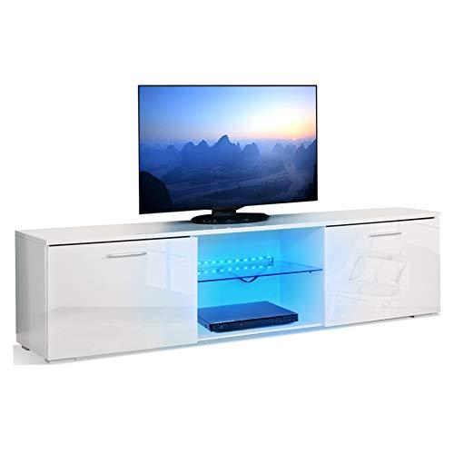 Mondeer Fernsehtisch, TV-Bank, TV-Schrank LED-Leuchte Spanplatt 160 x 30 x 38cm (Weiß)