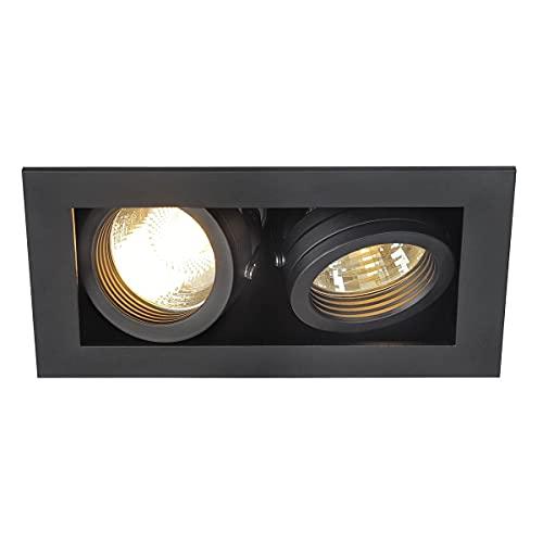 SLV Spots Encastrables KADUX 2 Lampes | Rectangulaire Noir Mat | Orientable Inclinable Multidirectionnel | Clips Ressorts