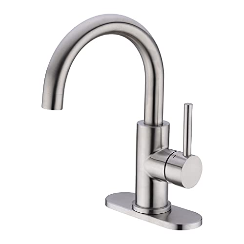 CREA Bar Sink Faucet, Bathroom Kitchen Faucet Brushed Nickel Single Hole Stainless Steel Delta Pre...