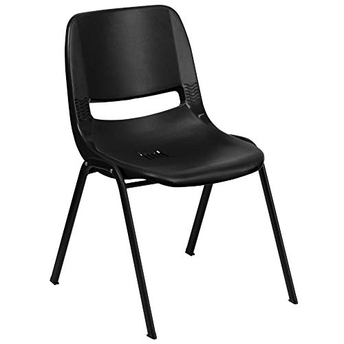 Flash Furniture HERCULES Series 440 lb. Capacity Kid's Black Ergonomic Shell Stack Chair with Black Frame and 12' Seat Height