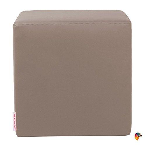 Arketicom Dado Pouf Design Cube Repose Pied Tabouret Cuir Dehoussable Taupe 35x35
