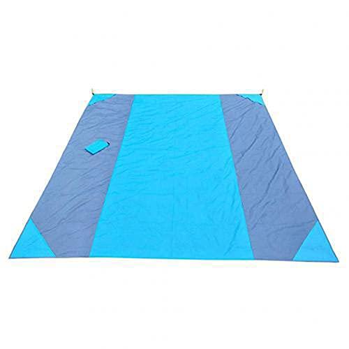 GAOYUAN Alfombra de camping multifuncional, forma rectangular de color abigarrado, manta de playa a prueba de humedad (azul, 270 x 210 cm)
