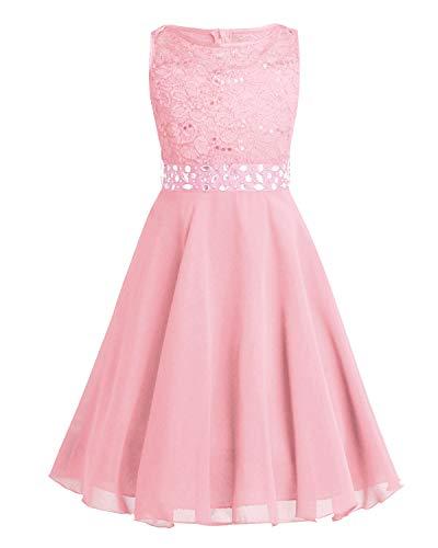 TiaoBug Festlich Mädchen Kleid für Kinder Prinzessin Spitzen Kleider Hochzeit Blumenmädchenkleid 92 104 116 128 140 152 164 Pearl Pink 152