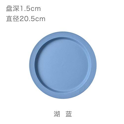 YUWANW Macaron Color Ceramic Cups and Breakfast Plates A Day with The Money Western Inventory Heart Cup, Lake Blue Plate