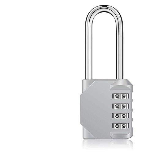 Long Padlock High Security 4 Digit Pad Lock Outdoor Travel Padlock Password Lock for Luggage Suitcase Digit Lock-_Silver