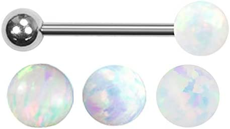 Sparkling Synthetic White fire Opal Ball Barbell Tongue Ring Body Piercing Jewelry bar - 14g