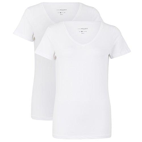 Deik&Dunes Vivi - Basic 2er Packs T-Shirts V-Ausschnitt in weiß/weiß, Größe XS