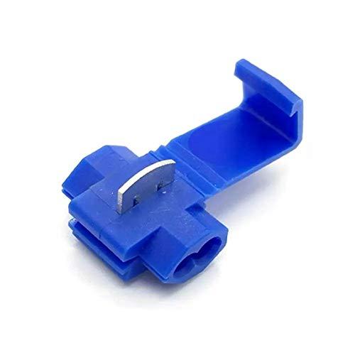 MoreChioce - Conectores de alambre de terminales de empalme rápido, 100 unidades, conectores eléctricos rápidos, accesorios autopelantes, desconexión, juego de conectores macho aislados, color azul