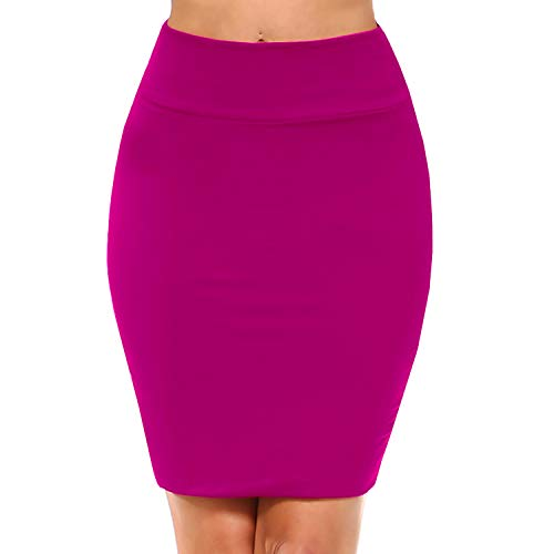 Fashionazzle Women's Casual Stretchy Bodycon Pencil Mini Skirt (Small, BMS02-Magenta)
