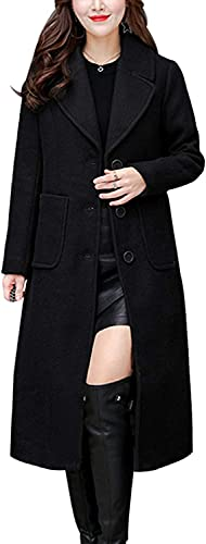 chouyatou Women's Big Notch Lapel Single Breasted Mid-Long Wool Blend Coat (Medium, Black)