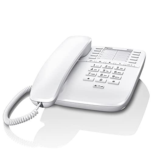 Gigaset DA510 - Schnurgebundenes Telefon mit praktischer Anrufanzeige - Kurzwahleinträge - großes Telefonbuch - Stummtaste mit Wartemelodie - Anrufsperre und Tastensperre, weiß