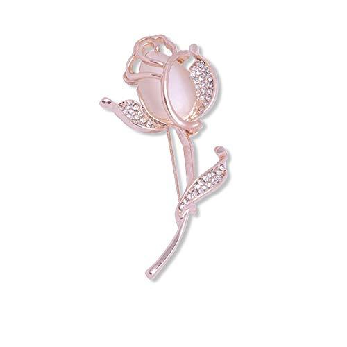 WANGJIAHAO Broche De Cristal con Incrustaciones De Diamantes, Broche para Bufanda De Seda Rosa Rosa, Insignia Antidesvanecimiento, 2 Alfileres para Abrigo