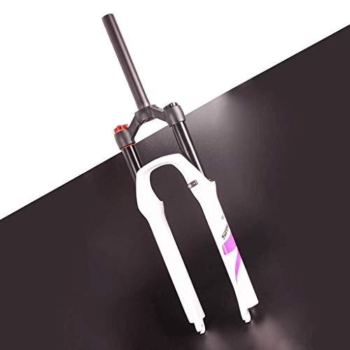 Horquilla de suspensión CHP MTB 26/27,5/29' XC Air Spring recto, tubo de 1-1/8' Bloqueo manual de viaje 140 mm eje de freno de disco 9 mm QR Horquilla delantera de bicicleta, color D-blanco., tamaño 26 pulgadas
