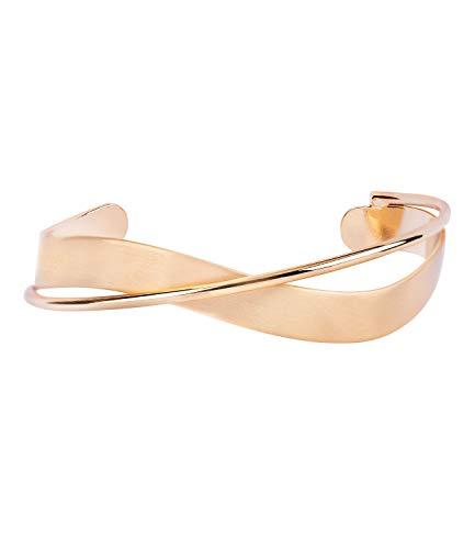 TOSH Offener goldfarbener Metall-Armreif mit geschwungenen Cut-Out Elementen (364-423)
