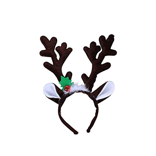 1pc Reindeer Headband Horns Cosplay Antlers Xmas Deer Ears Headband Hair Accessories for Kids Adults (12*34cm)