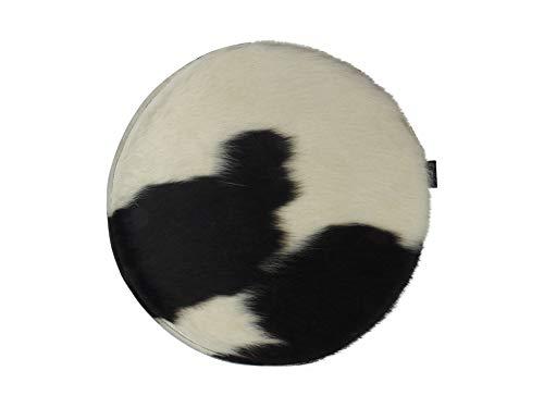 Filzicus Kuhfell Sitzkissen | handgefertigt in Deutschland | 30mm gepolstert | Rückseite 100% Wollfilz | Sitzauflage | Stuhlkissen | 40cm rund