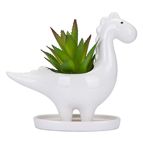 VanEnjoy Desktop Cute Cartoon Herbivorous Dinosaur White Ceramic Succulent Planter with Tray, Bonsai Cactus Flower Pot Vase Holder Decorative Organizer