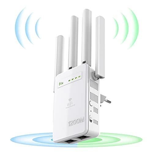 DIGITNOW! WLAN Mesh Repeater 1200 Mbit/s,WLAN Verstärker 5GHz|867Mbit/s 2,4GHz|300Mbit/s, WiFi Extender MIT 2 Gigabit LAN-Port,AP Modus,deutschsprachige Version