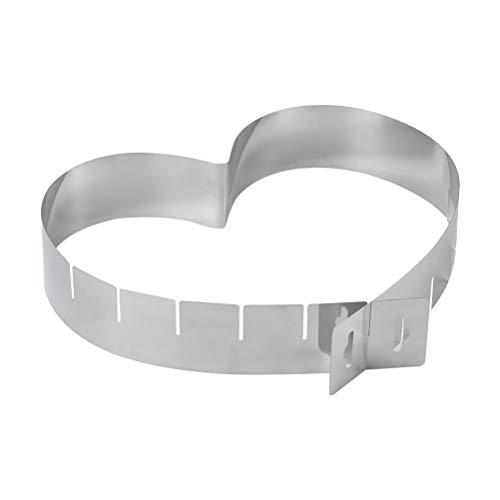 JAOMON Backform Herz Größenverstellbar mit 6 einstellbare Größen Tortenring mit verstellbarem für Kuchenform Herzbackform aus 403 Rostfreier Edelstahl Silber 27 * 25cm 5 cm dick