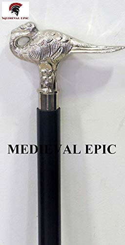 Bastón medieval de plata de ley con diseño de cisne con eje de madera de haya negra | Agatha Christie's Poirot Cane