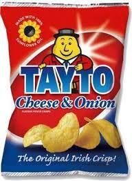 Tayto Irish Cheese & Onion Crisps 45g bag x 10 pack Imported from Ireland
