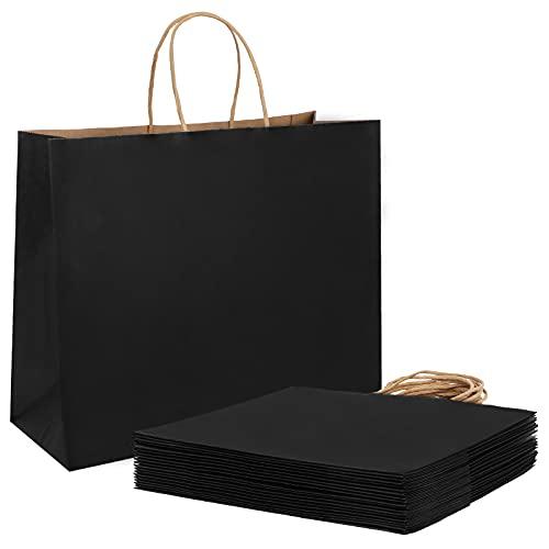 Weifeng Bolsas Regalo,Bolsas de Papel,Bolsas Papel Kraft,Bolsas de Papel con Asas(20 Piezas, 27x12x21cm, Negro, 130GSM)