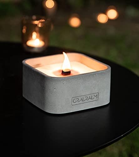 GRAURAUM Outdoor-Feuer mit Dauerdocht: Kerzen einschmelzen - 13cmx13cmx65cm Tischfeuer als großer Kerzenfresser - Kerzenfeuer Outdoor-Kerze mit langer Brenndauer - Handgemacht in Deutschland