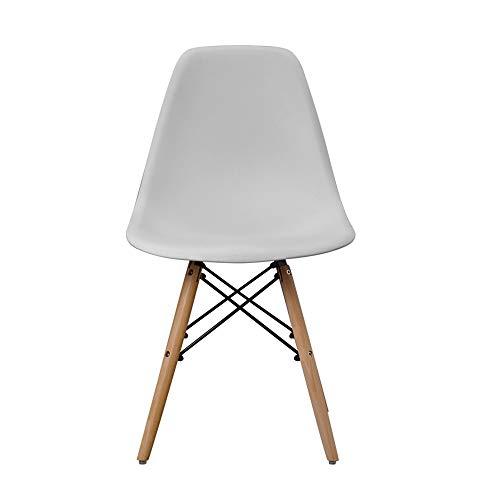 JINSIJU Silla escandinava moderna de mediados de siglo con patas de madera natural para cocina, sala de estar, comedor, gris claro (gris claro, talla única)