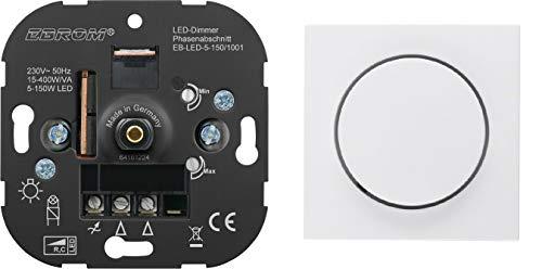 5 Jahre Garantie! EBROM® Unterputz LED Dimmer Drehdimmer + Berker Dimmerabdeckung 11378989 polarweiß glänzend, Phasenabschnitt, für LED 5-150 Watt + dimmbare Halogen etc. 15-400 W/VA