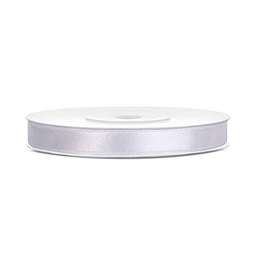 DaLoKu Satinband 6/12/25/38/50/100mm x 25m Geschenkband Schleifenband, Größe: 6mm x 25m, Farbe: Weiß