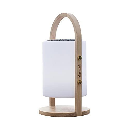 Lampe enceinte bluetooth sans fil poignée bois LED blanc/multicolore dimmable WOODY PLAY H37cm avec télécommande