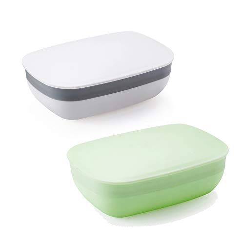 Snowkingdom 2 Pcs Travel Soap Holder Dish Case With Strong Sealing, Portable Leak Proof - White & Green Pack of 2