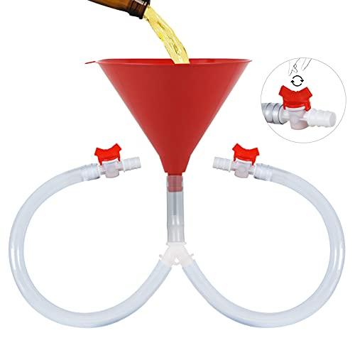 KTOAN Bierbong Trichter mit Ventil, Biertrichter mit knickfreien Röhren, Doppelkopf-Bierbong mit auslaufsicherem Ventil für Trinkspiele, Geburtstagsparty