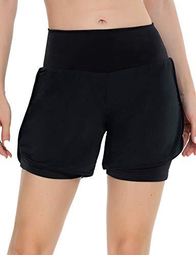 iWoo Shorts Damen Sport Sommer 2 in 1 Kurze Hose Laufshorts Fitness Joggen und Training Sporthose für Yoga Sport Jogging Gym Running Beiläufige Elastisch Schwarz S