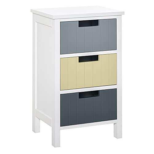 HOMCOM Storage Tower, Dresser Chest with Drawers, Wood Top, Organizer Unit for Closets Bedroom Nursery Room Hallway