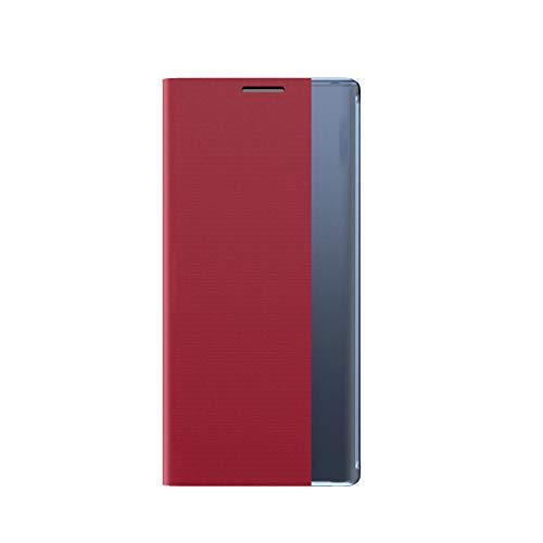 coque Funda para Galaxy A42 5G, piel con tapa para Samsung Galaxy A42 5G, color rojo
