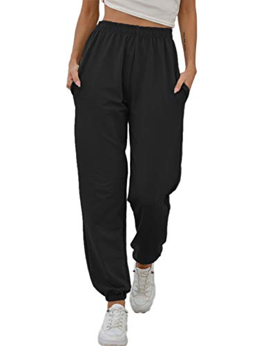 Vemubapis Mujer Pantalones CháNdal Joggers Cintura Alta Holgados SalóN Casuales Pantalones Negro S