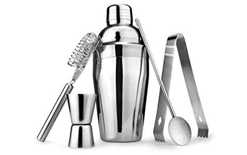 Geoffrey Riegelmischset 5Pcs Cocktail Shaker Set Wine Mixer Kit Edelstahl Homebrew Barkeeper Shaker Alkohol-Party Weinherstellung Barware Werkzeug
