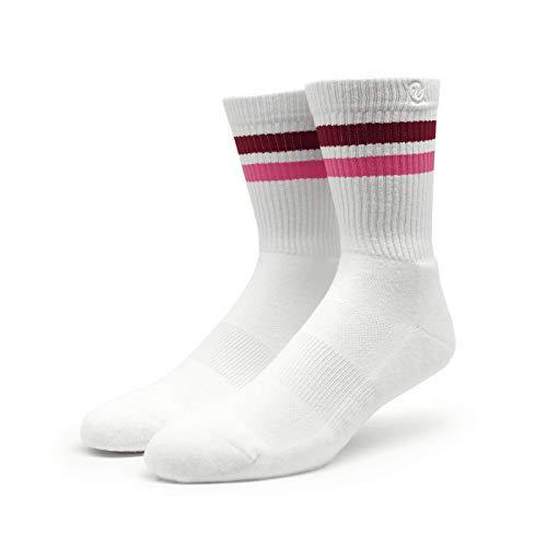 Spirit of 76 | Sportsocken mit Streifen | Weiß, Lila & Pink gestreift | Knöchelhohe Skater Tubesocks (43-46)