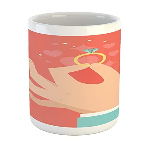 Taza de compromiso, estilo de dibujos animados solitario anillo de diamante de compromiso pellizcar los dedos de los novios, taza de café de cerámica para bebidas de té de agua, 11 oz, azul pálido, be