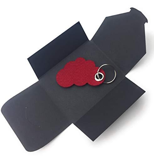 filzschneider Schlüsselanhänger aus Filz - Wolke/Cloud - bordeaux/dunkel-rot/wein-rot - als besonderes Geschenk mit Öse und Schlüsselring - Made-in-Germany