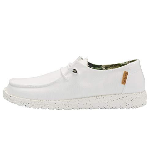 Hey Dude Wendy - Zapatos casuales para mujer, estilo mocasín, comodidad ligera, plantilla ergonómica de espuma viscoelástica, diseñada en Italia y California, color Blanco, talla 42 EU