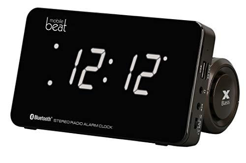 Mobile Beat CSS 1609 Uhrenradio mit Weckfunktion, weißes LCD Display, Wecken mit Radio, USB oder SD, USB-Ladefunktion, Bluetooth 4.2, AUX, Schwarz