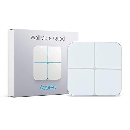 Aeotec WallMote Quad, Wireless Zwave on Off Switch, Z-Wave Plus Enabled, 4 Zwave Button, 16 Scene Wall Switch with Remote Control, Work with Z Wave Hub