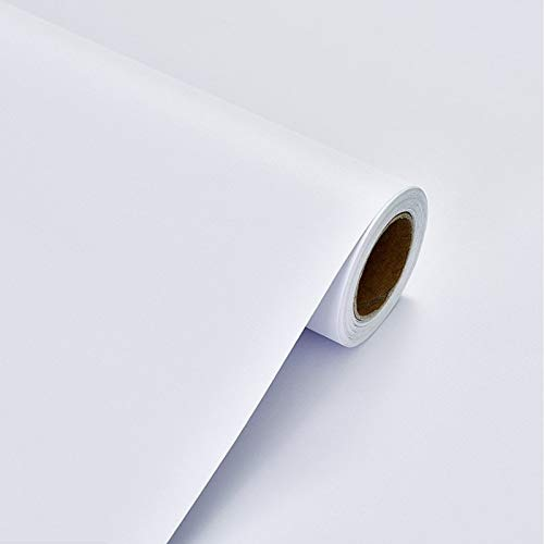 Papel pintado autoadhesivo de plástico blanco con espalda adhesiva 40X300cm Película de vinilo extraíble para despegar y pegar para pared, revestimiento de estantes, puerta de mesa