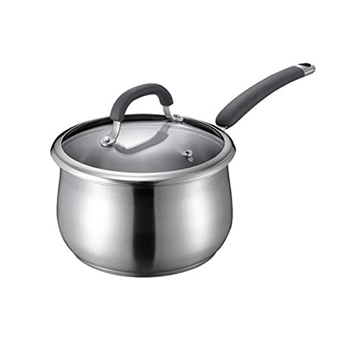 Lqfcjnb Milk Pot With Lid Stainless Steel Uncoated Soup Pot Small Milk Pot Household Kitchen Stainless Steel Pot/Silver Colour (Color : Silver, Size : 14cm)