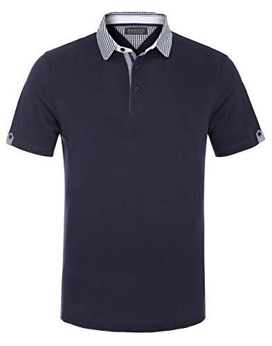 MAROJO Herren Poloshirt mit Kent Kragen Regular Fit Kurzarm Sommer Shirts Polo Hemd (Dunkelblau, XL)