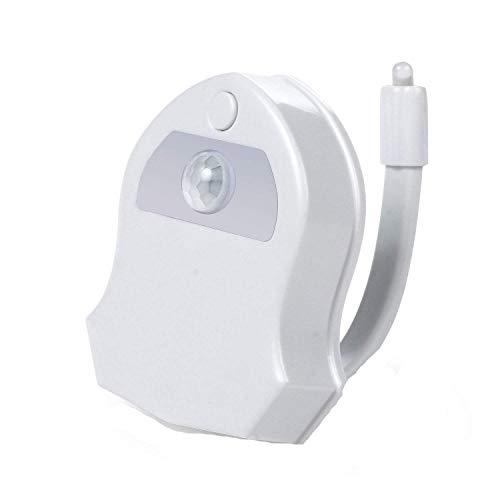 Luz nocturna para inodoro, luz LED de 16 colores, lámpara de inodoro con sensor activado por movimiento automático, luz para el asiento del inodoro para niños, padres en el cuarto de baño, casa